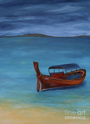 Longboat On Blue Sea Poster by Christiane Schulze Art And Photography