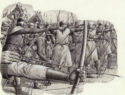 Longbowmen At The Battle Of Falkirk Poster by Pat Nicolle
