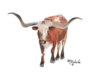 Longhorn 17 Big Daddy Watercolor Painting By Kmcelwaine Poster by Kathleen McElwaine