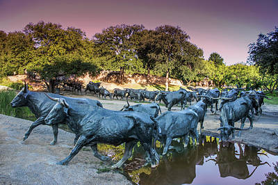 Longhorn Cattle Sculpture In Pioneer Plaza, Dallas Poster