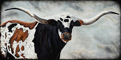 Poster featuring the painting Longhorn by Dede Koll