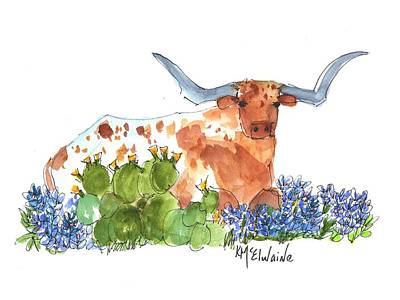 Longhorn In The Cactus And Bluebonnets Lh014 Kathleen Mcelwaine Poster by Kathleen McElwaine