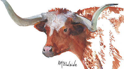 Longhorn Portrait Lh006 Watercolor Painting By Kmcelwaine Poster by Kathleen McElwaine