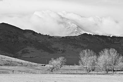 Longs Peak Snow Storm Bw Poster by James BO  Insogna