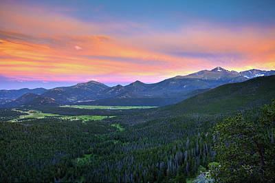 Poster featuring the photograph Longs Peak Sunset by David Chandler