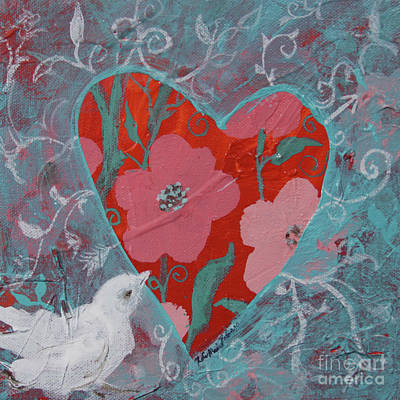 Poster featuring the painting Look Into My Heart  by Robin Maria Pedrero