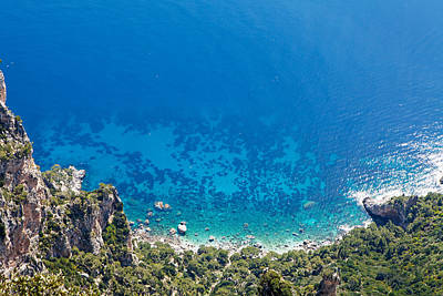 Looking Down Cliff Onto Mediterranean Sea Poster