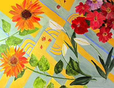 Poster featuring the painting Looking Down On The Flowers On The Tile Floor by Sandy McIntire