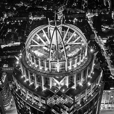 Looking Down On The Huntington Street Building Boston Ma Black And White Poster by Toby McGuire