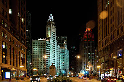 Looking North On Michigan Avenue At Wrigley Building Poster