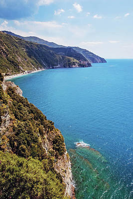 Looking South From Corniglia Cinque Terre Poster by Joan Carroll