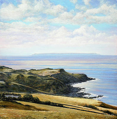 Looking Toward Lundy Island And Lee Bay From Ilfracombe Coast Path Poster by Mark Woollacott