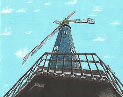Looking Up At A Windmill Poster