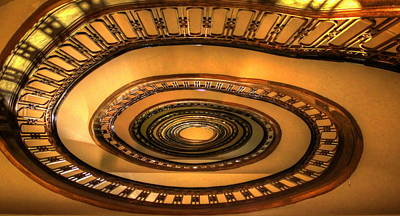 Looking Up The Ponce Stairway Atlanta Georgia Poster by Reid Callaway