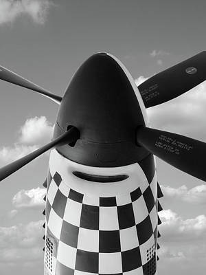 Looking Up To The P-51 Poster by Gill Billington