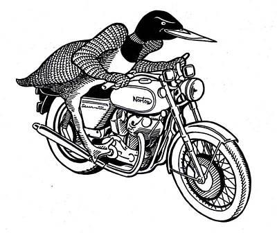 Loonie Rider On Norton Poster