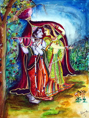 lord radha krishna RAAS LEELA Poster by Kavita Sarawgi