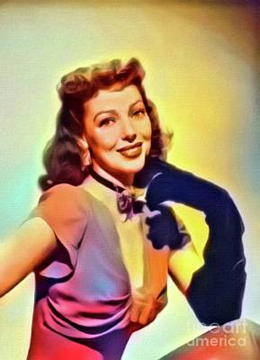 Loretta Young, Vintage Actress. Digital Art By Mb Poster by Mary Bassett