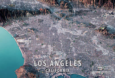 Los Angeles 3d Render Satellite View Topographic Map Horizontal Poster