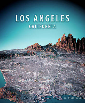 Los Angeles 3d Render Satellite View Topographic Map Vertical Poster by Frank Ramspott