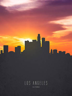 Los Angeles California Sunset Skyline 01 Poster by Aged Pixel