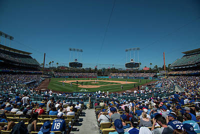 Poster featuring the photograph Los Angeles Dodgers Dodgers Stadium Baseball 2110 by David Haskett