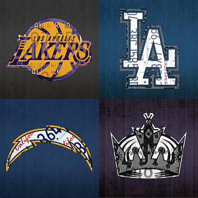Los Angeles License Plate Art Sports Design Lakers Dodgers Chargers Kings Poster