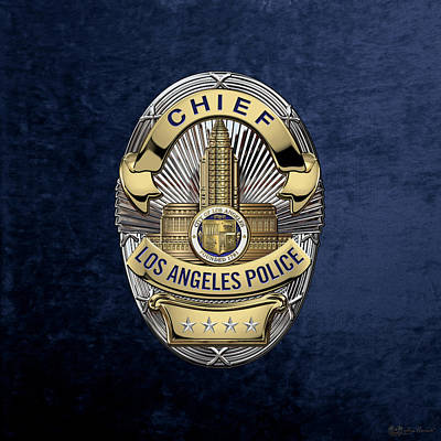Los Angeles Police Department  -  L A P D  Chief Badge Over Blue Velvet Poster by Serge Averbukh