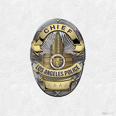Los Angeles Police Department  -  L A P D  Chief Badge Over White Leather Poster by Serge Averbukh