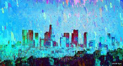 Los Angeles Skyline 4 - Pa Poster by Leonardo Digenio