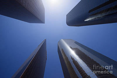 Los Angeles Skyscrapers Upward View Poster by Paul Velgos