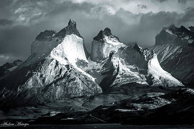 Poster featuring the photograph Los Cuernos In Black And White by Andrew Matwijec