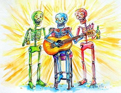 Poster featuring the painting Los Tres Cantantes by Heather Calderon