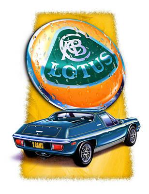 Lotus Europa Blue Poster by David Kyte