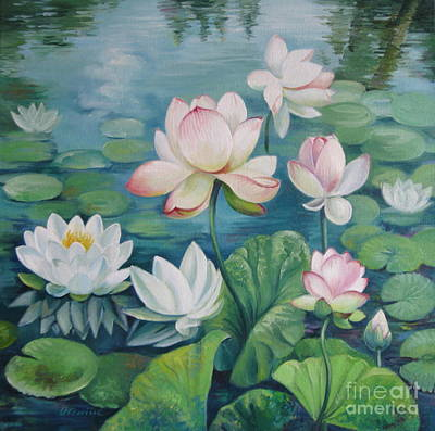 Lotus Flowers Poster by Elena Oleniuc