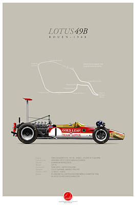 Lotus-ford 49b Graham Hill 1968 Poster by Last Corner