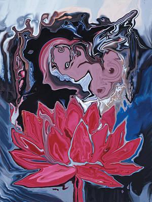 Poster featuring the digital art Lotus Love by Rabi Khan