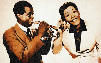 Louis Armstrong And Billie Holiday Poster by Ian Gledhill