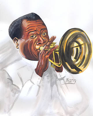 Poster featuring the painting Louis Armstrong by Emmanuel Baliyanga