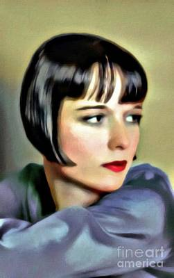 Louise Brooks, Vintage Actress, Digital Art By Mary Bassett Poster by Mary Bassett