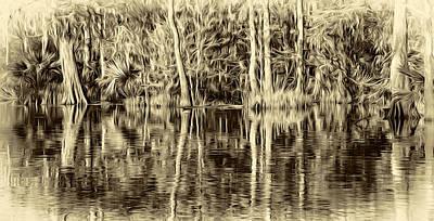 Louisiana Bayou 3 - Paint Sepia Poster by Steve Harrington