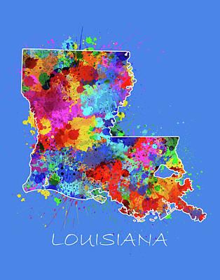 Louisiana Map Color Splatter 3 Poster
