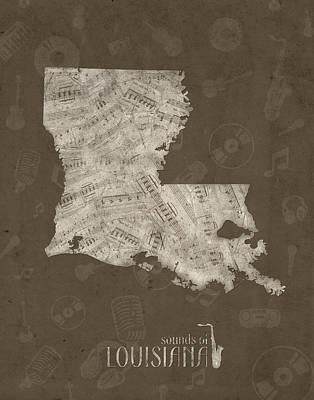Louisiana Map Music Notes 3 Poster