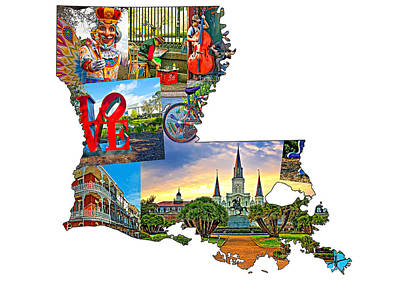 Louisiana Map - New Orleans Poster by Steve Harrington