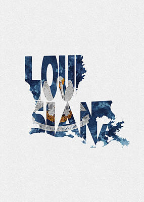 Louisiana Typographic Map Flag Poster