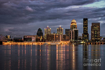 Poster featuring the photograph Louisville At Dusk by Andrea Silies