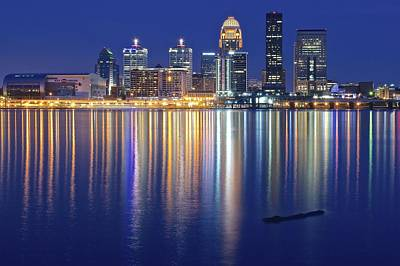 Louisville During Blue Hour Poster by Frozen in Time Fine Art Photography