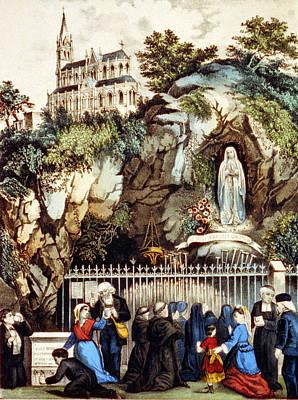 Lourdes, France, Pilgrims At The Shrine Poster by Everett