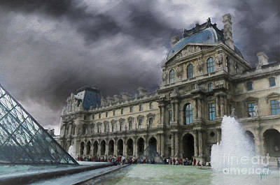 Poster featuring the mixed media Louvre by Jim  Hatch