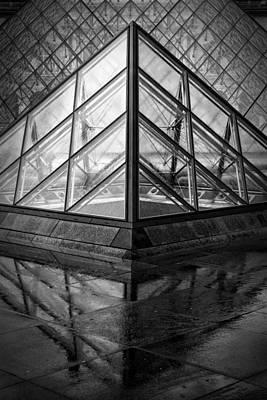 Louvre Pyramids Paris Bw Poster